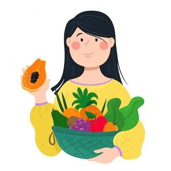 Girl holds fruits in a basket. illustration in cartoon flat style.