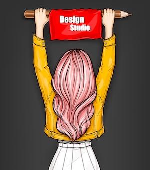 La ragazza tiene una grande matita con banner rosso