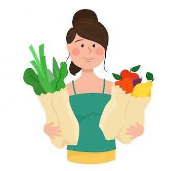 Девушка держит пакеты с салатом, зеленью и фруктами. иллюстрация в мультяшном стиле.