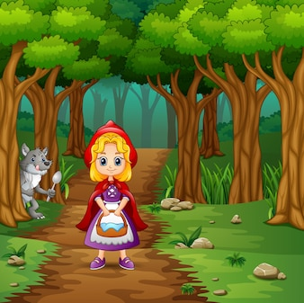 Girl hooded red and wolves at forest