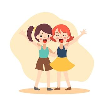 Девушка обнимают друг друга