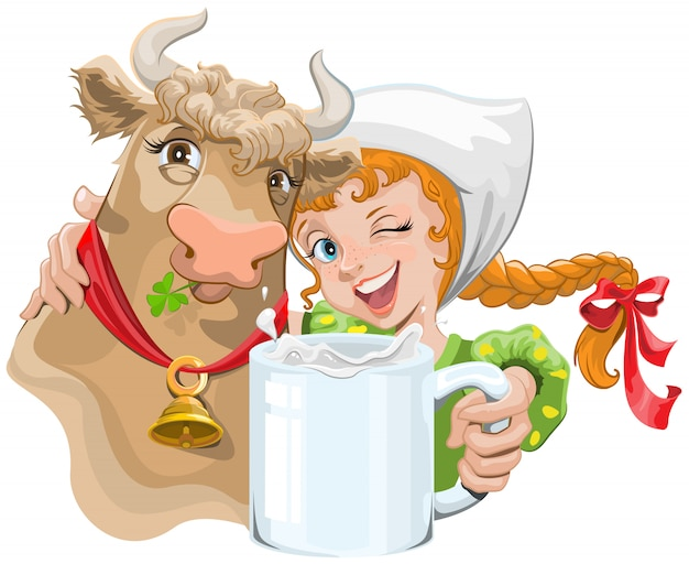 우유 한 잔을 들고 암소와 농부를 포옹하는 소녀
