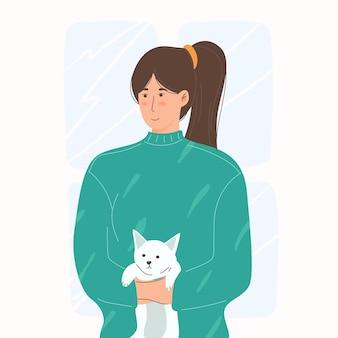 Girl hugging a cat portrait of happy pet owner illustration
