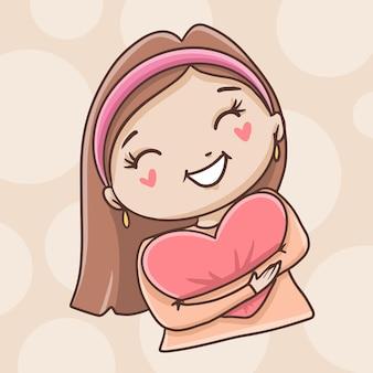 Girl hugging heart