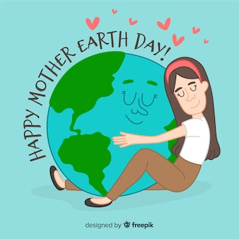 Girl hugging planet mother earth day background