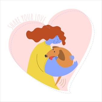 The girl hugs the dog animal love concept