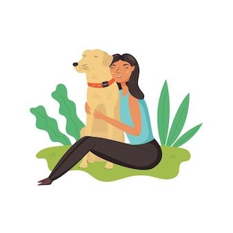 Girl hugs golden retriever dog happy pet owners vector illustration