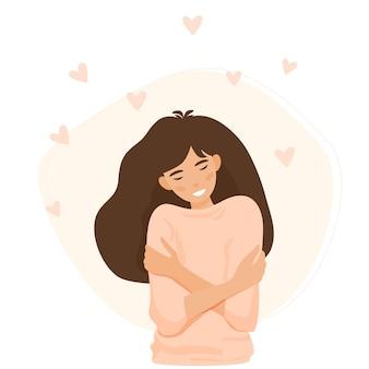 女の子は白い背景の上のイラストの周りに浮かぶ心で自分自身を抱きしめます