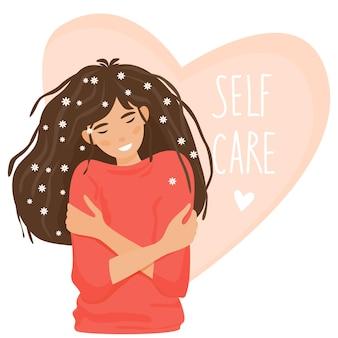 女の子は、背景のイラストの淡いピンクのハートにセルフケアのテキストで自分自身を抱きしめます