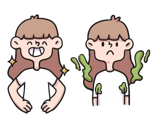 Иллюстрация гигиены девушки шаржа милая