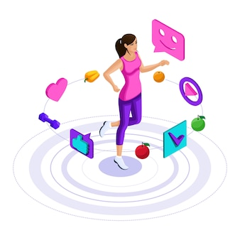 Girl, icons of a healthy lifestyle, the girl is engaged in fitness, jogging, jumping. bright advertising concept