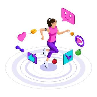 Девушка, иконки здорового образа жизни, девушка занимается фитнесом, бегом, прыжками. рекламная концепция