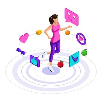 Девушка, иконки здорового образа жизни, девушка занимается фитнесом, бегом, прыжками. яркая рекламная концепция