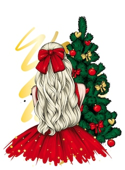 クリスマスツリーの近くの美しいドレスを着た女の子。ベクター。