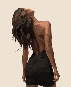 Девушка в черном платье. векторная иллюстрация моды