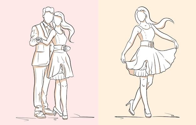 ドレスと靴の女の子。スーツを着た男とドレスを着た女の子。ファッション。ラインスタイル。デザインと装飾のベクトルイラスト。