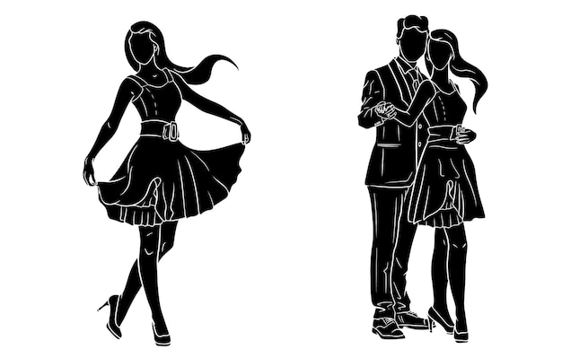 ドレスと靴の女の子。スーツを着た男とドレスを着た女の子。ファッション。シルエット。デザインと装飾のベクトルイラスト。