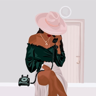 Девушка в зеленой блузке и розовой панамной шляпе разговаривает по проводному телефону.