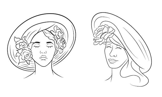 帽子の抽象化の少女。頭飾りにバラの少女。ラインスタイル。デザインと装飾のベクトルイラスト。