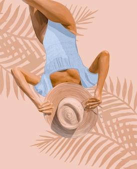 밀짚 모자와 파란색 수영복을 입은 소녀가 일광욕을 하고 있다