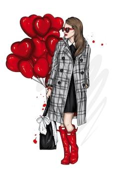 スタイリッシュなコートとハートの風船の女の子 Premiumベクター