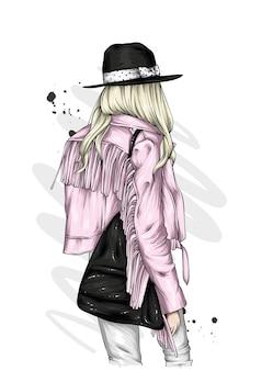 세련된 모자와 재킷에 소녀
