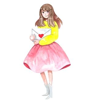 노란색 재킷과 분홍색 치마를 입은 소녀가 서서 연애 편지를 안아줍니다.