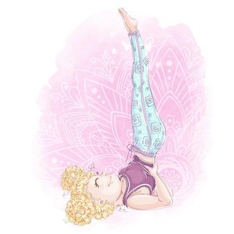 요가 포즈에 여자입니다. 운동 및 바디 케어. 수채화 조직 상 배경 및 스케치 스타일