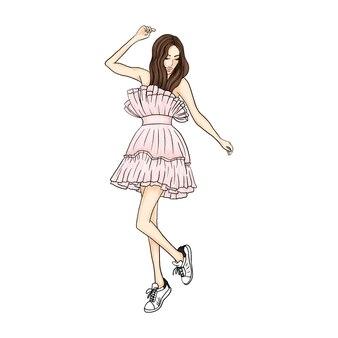 Девушка в красивом розовом платье