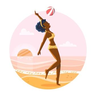 해변 그림에서 비키니 입은 소녀