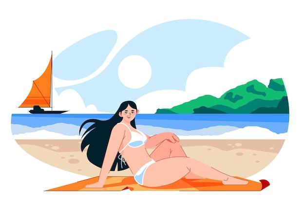 ビーチのイラストでビキニの女の子
