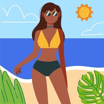 해변 그림에 비키니 입은 소녀