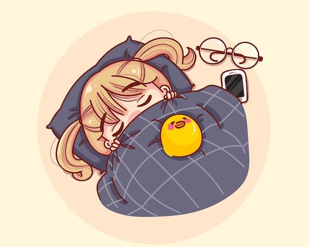 毛布で眠っている少女。漫画セットイラスト