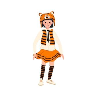 카니발 의상을 입은 소녀와 극장 새해 크리스마스와 휴일을 위한 호랑이 모자 축제 의류...