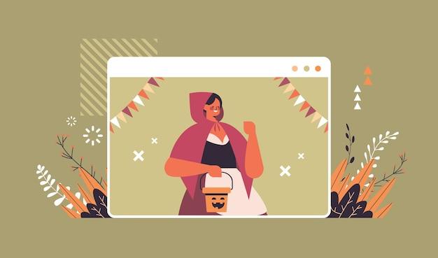 Девушка в костюме празднует счастливый праздник хэллоуина самоизоляция концепция онлайн-общения окно веб-браузера портрет горизонтальная векторная иллюстрация