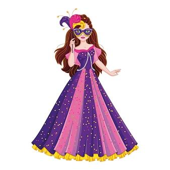 Девушка в маскарадном платье принцесса в маскарадной маске