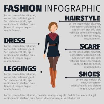 프랑스 스타일 패션 Infographic 템플릿 소녀 프리미엄 벡터