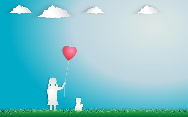 녹색 초원에 빨간 하트 풍선 서와 손 잡고 소녀.