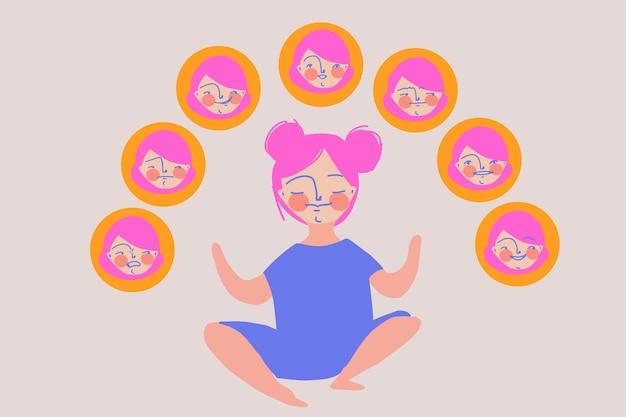 그녀의 감정 eq ei 감성 지능과 정신 건강 개념과 조화를 이루는 소녀