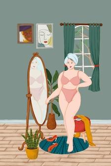 鏡のスケッチスタイルのベクトルの前に立っている彼女の下着の女の子