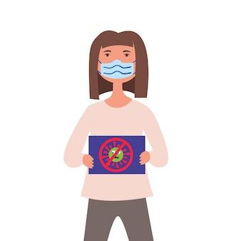 医療用マスクの少女がコロナウイルス菌に抗議