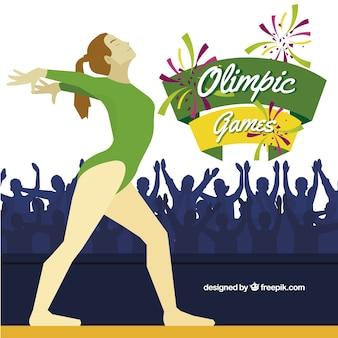 Девушка в олимпийском фоне игры