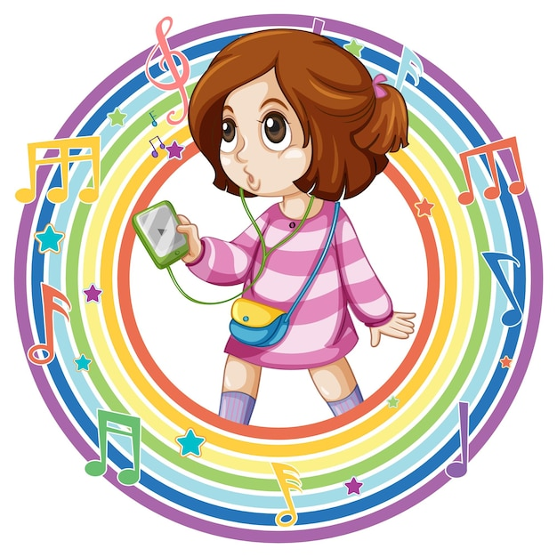 Девушка в круглой рамке радуги с символами мелодии