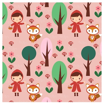 赤いフードと森林のパターンでキツネの女の子