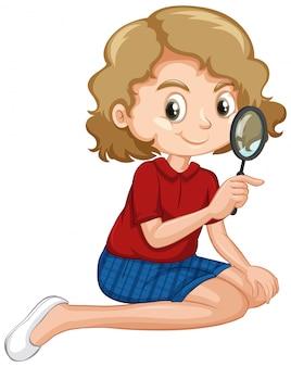 Девушка в красной рубашке держит увеличительное стекло