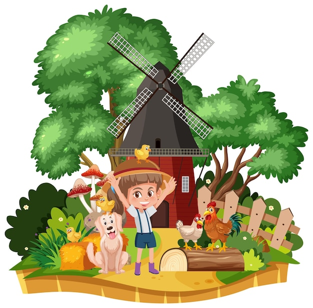 시골 시골 집 풍경에 소녀