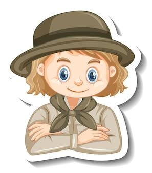 Девушка в костюме сафари, мультяшный персонаж, наклейка