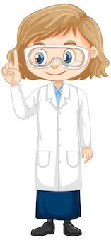 白い背景の上の科学のガウンの女の子