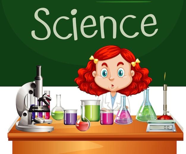 실험실에서 일하는 과학 가운을 입은 소녀