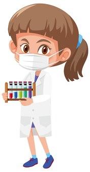 科学オブジェクトを保持している科学者の衣装の女の子